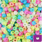 1000 Mixed Colors Glow 7mm Mini Barrel Plastic Pony Beads Made in the USA