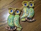 Vtg 1960's Pair of Hand Painted Ceramic 3D Wall Art Plaques Owl on Branch