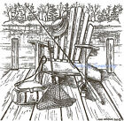 Chair On Dock  Fishing Gear Wood Mounted Rubber Stamp NORTHWOODS PP9106 New