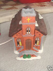 CHRISTMAS  NOMA DICKENSVILLE  LIGHTED  PORCELAIN CHURCH 1992 IN BOX CORD