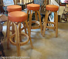 4 Vintage Mid Century Modern Rattan Wood Bar Stools Chairs tiki chic retro decor