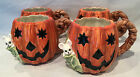 1989 Set of Four FITZ and FLOYD HALLOWEEN Jack O Lantern Pumpkin Mouse Mug Cup