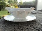 Franconia Laurel Oak Blue Flowers White Gravy Boat with Attached Underplate