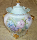 ANTIQUE PORCELAIN BISCUIT JAR COOKIE JAR PANSY FLOWER SIGNED