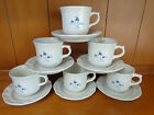 Set of 6 Pfaltzgraff Poetry Glossy Blue Flowers Cups and Saucers