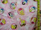 DISNEY 4 PRINCESSES  FLORAL FRAMES PINK 100% COTTON FLANNEL FABRIC  48X42 INCHES