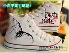 Anime Death Note hand painted Canvas Shoes lovers Casual flat High Top Sneakers