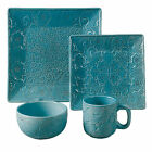Turquoise Square Dishes Set Ceramic 16 Piece Plates Bowls Mugs Wedding Gift Idea