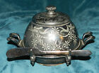 GORGEOUS QUADRUPLE SILVER PLATE BUTTER DOME W/KNIFE! ANTIQUE PAIRPOINT 316