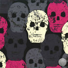 138000224 - Skull of Rock Fuchsia Hot Pink Black Gray Cotton Fabric by the Yard