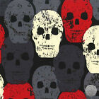 138000223 - Skull of Rock Red Black Gray Cotton Fabric by the Yard Distressed