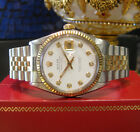 Mens ROLEX Oyster Perpetual Datejust Diamond Dial Yellow Gold S/Steel Watch