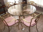 Vintage Wrought Iron and Glass Top Table & 4 Chairs
