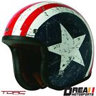 TORC T50 REBEL STAR GLOSSY WHITE RED OPEN FACE MOTORCYCLE HELMET DOT XS XXL