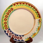 Lamas Italian Pottery Dinner Plate Hand Painted Geometric Design Redware w/ Logo