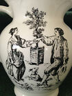 TABLETOPS UNLIMITED NEW ENGLAND TOILE LARGE BLACK & WHITE CHINA PITCHER