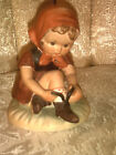 VTG 1950s Little Girl Lacing shoe Ceramic Figurine ~ Arnart 5th Ave USA ~Marked