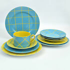 Fitz & Floyd Windowpane Plates and Cup Aqua and Yellow Japan
