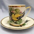 Beautiful Vintage Goldfinch Porcelain Demitasse Cup and Saucer