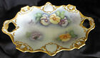 VINTAGE AK KAISER HAND PAINTED PORCELAIN GOLD ACCENT FLORAL BOWL WITH PANSIES