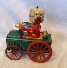 Vintage Tin Litho  Yone Wind Up Clown Car