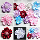 Ribbon Flower with Rhinestone set of 4 select color