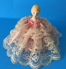 Sankyo 3S Japan Music Box Love Story Porcelain Doll Lace Fabric Spinning Vintage