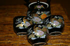 JAPANESE TEAPOT AND 3 TEA CUPS - BLACK WITH GOLD PEACOCK AND COLORFUL FLOWERS