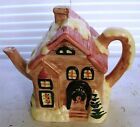 Whimsical Hand Painted  Christmas Time Porcelain Teapot