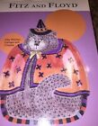 Fitz & Floyd Halloween Kitty Witches Canape w Crosses Plate NEW 2063/72