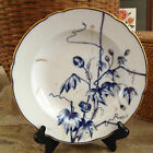 Antique Blue and White Floral Porcelain Rimmed Bowl with Gold Trim