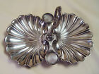 LSSL Rare Double Clam Scallop Shell Silverplated Serving Dish with Dip holders