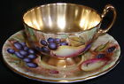 Aynsley England Fruit Orchard Gold Cup Saucer D Jones N Brunt Hand Painted