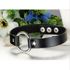 Harajuku Punk Goth Handmade Chain Leather O Ring Collar Choker Necklace a