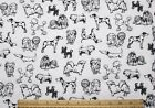 SNUGGLE FLANNELBLACK SKETCHES of DOG BREEDS on WHITE 100 Cotton Fabric NEW BTY