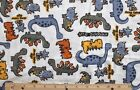 SNUGGLE FLANNEL LITTLE DINOSAURS GRAY ORANGE BLUE WHITE 100 Cotton Fabric BTY