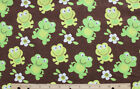 SNUGGLE FLANNEL  GREEN SMILING BABY FROGS on BROWN 100 Cotton Fabric NEW BTY