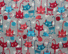 SNUGGLE FLANNELCATS  YARN PINK TURQUOISE GRAY 100 Cotton Flannel Fabric BTY