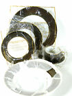 Fitz & Floyd Rondelle 6 pc Place Setting Black Gold VTG NEW Original Wrapping