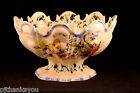 Beautiful Italian Monteith Form Hand Painted Ceramic Floral Compote As Is