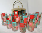 Vintage Fred Press retro/mid-century bar set w/ice bucket and 12 total glasses