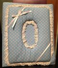 Blue Floral Fabric Photo Album 3 Ring Binder Ribbon Lace Pink White Good Cond