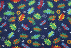 SNUGGLE FLANNEL DOGS WORDSWOOFPAWSUPER on DARK BLUE 100 Cotton NEW BTY
