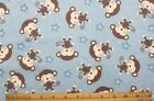 SNUGGLE FLANNEL BABY MONKEYS  STARS on LIGHT BLUE 100 Cotton Fabric BTY