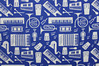 SNUGGLE FLANNEL  WHITE MUSIC INSTRUMENTS on BLUE  100 Cotton Fabric NEW  BTY