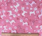 SNUGGLE FLANNEL HEARTS FLOWERS PEACE  UNICORN on PINK 100 Cotton BTY