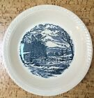 ROYAL CHINA BLUE AND WHITE CURRIER AND IVES DEEP DISH PIE PLATE~GETTING ICE~RARE