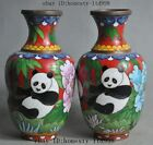marked china Dynasty bronze Cloisonne Panda Bamboo Zun Cup Bottle Vase Jar pair