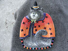 Fitz & Floyd Kitty Witches Gray Cat Orange Cape  Canape/Serving Plate