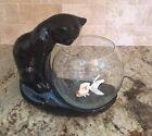 Vintage HAEGER Pottery Black Sitting Kitty Cat Looking into Clear Glass Bowl